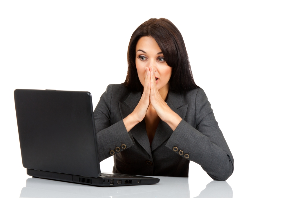 business woman shocked computer